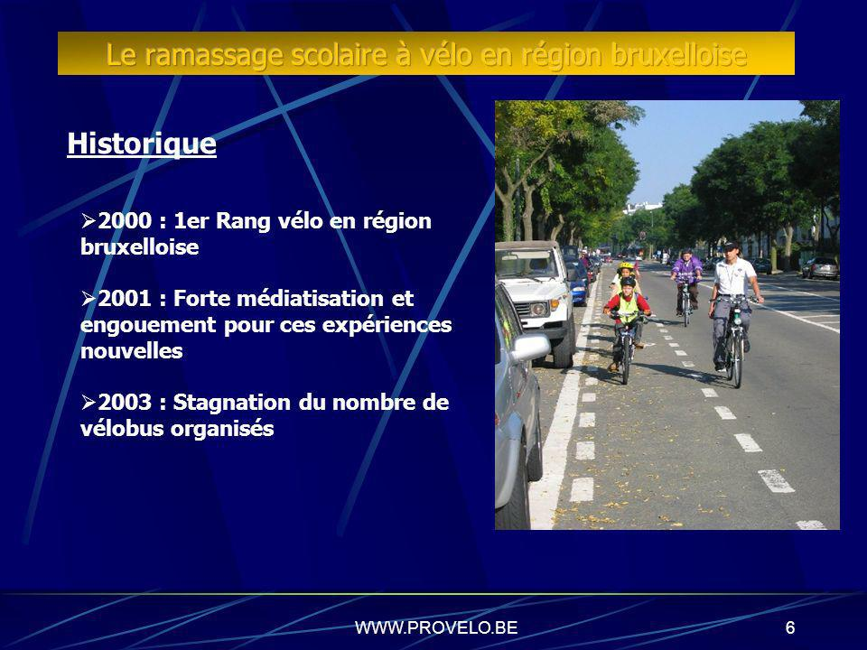 6 Historique 2000 : 1er Rang vélo en région bruxelloise 2001 : Forte médiatisation et engouement pour ces expériences nouvelles 2003 : Stagnation du nombre de vélobus organisés