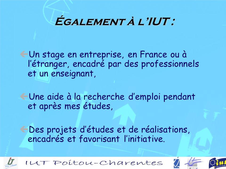 Un stage en entreprise, en France ou à létranger, encadré par des professionnels et un enseignant, Une aide à la recherche demploi pendant et après mes études, Des projets détudes et de réalisations, encadrés et favorisant linitiative.