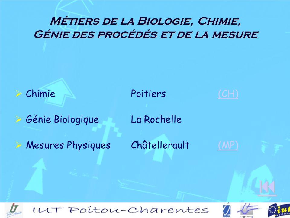 Métiers de la Biologie, Chimie, Génie des procédés et de la mesure ChimiePoitiers(CH)(CH) Génie BiologiqueLa Rochelle Mesures Physiques Châtellerault(MP)(MP)