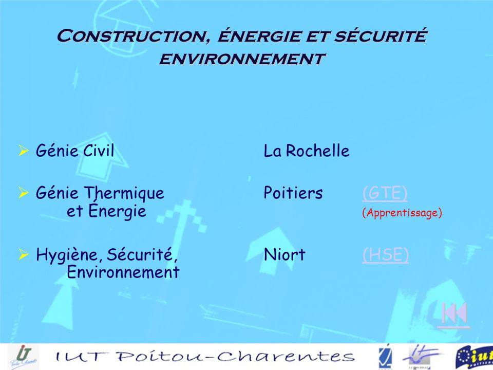 Construction, énergie et sécurité environnement Génie CivilLa Rochelle Génie ThermiquePoitiers(GTE) et Énergie (Apprentissage)(GTE) Hygiène, Sécurité,Niort(HSE) Environnement(HSE)