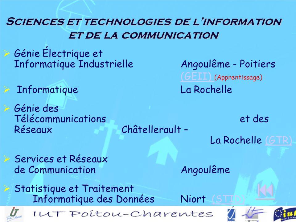 Sciences et technologies de linformation et de la communication Génie Électrique et Informatique IndustrielleAngoulême - Poitiers (GEII) (Apprentissage)(GEII) InformatiqueLa Rochelle Génie des Télécommunicationset des RéseauxChâtellerault – La Rochelle (GTR)(GTR) Services et Réseaux de CommunicationAngoulême Statistique et Traitement Informatique des DonnéesNiort (STID)(STID)