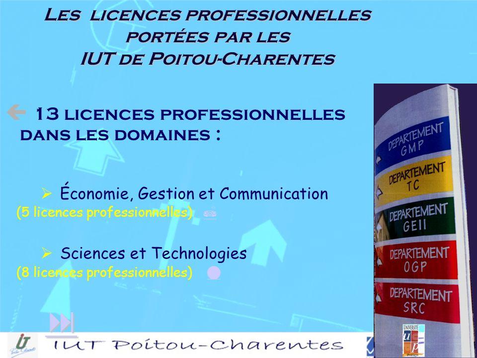 Économie, Gestion et Communication (5 licences professionnelles) Sciences et Technologies (8 licences professionnelles) 13 licences professionnelles dans les domaines : Les licences professionnelles portées par les IUT de Poitou-Charentes