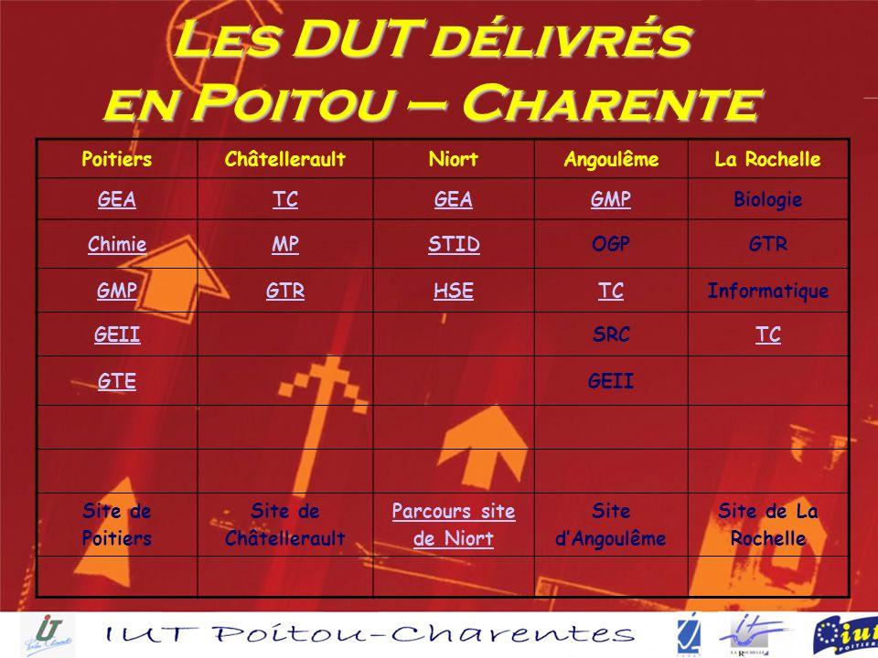 Les DUT délivrés en Poitou – Charente PoitiersChâtelleraultNiortAngoulêmeLa Rochelle GEATCGEAGMPBiologie ChimieMPSTIDOGPGTR GMPGTRHSETCInformatique GEIISRCTC GTEGEII Site de Poitiers Site de Châtellerault Parcours site de Niort Site dAngoulême Site de La Rochelle