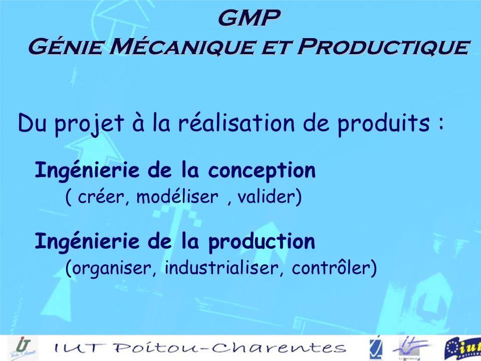 GMP Génie Mécanique et Productique Du projet à la réalisation de produits : Ingénierie de la conception ( créer, modéliser, valider) Ingénierie de la production (organiser, industrialiser, contrôler)