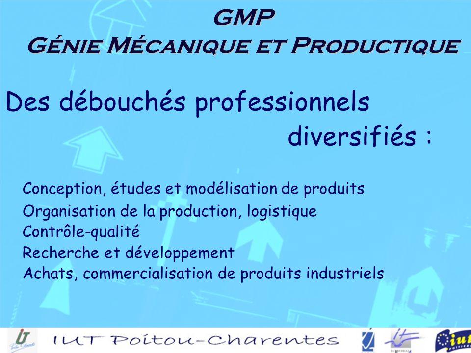 GMP Génie Mécanique et Productique Des débouchés professionnels diversifiés : Conception, études et modélisation de produits Organisation de la production, logistique Contrôle-qualité Recherche et développement Achats, commercialisation de produits industriels