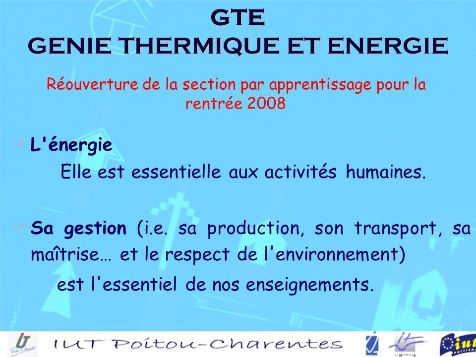 GTE GENIE THERMIQUE ET ENERGIE L énergie Elle est essentielle aux activités humaines.