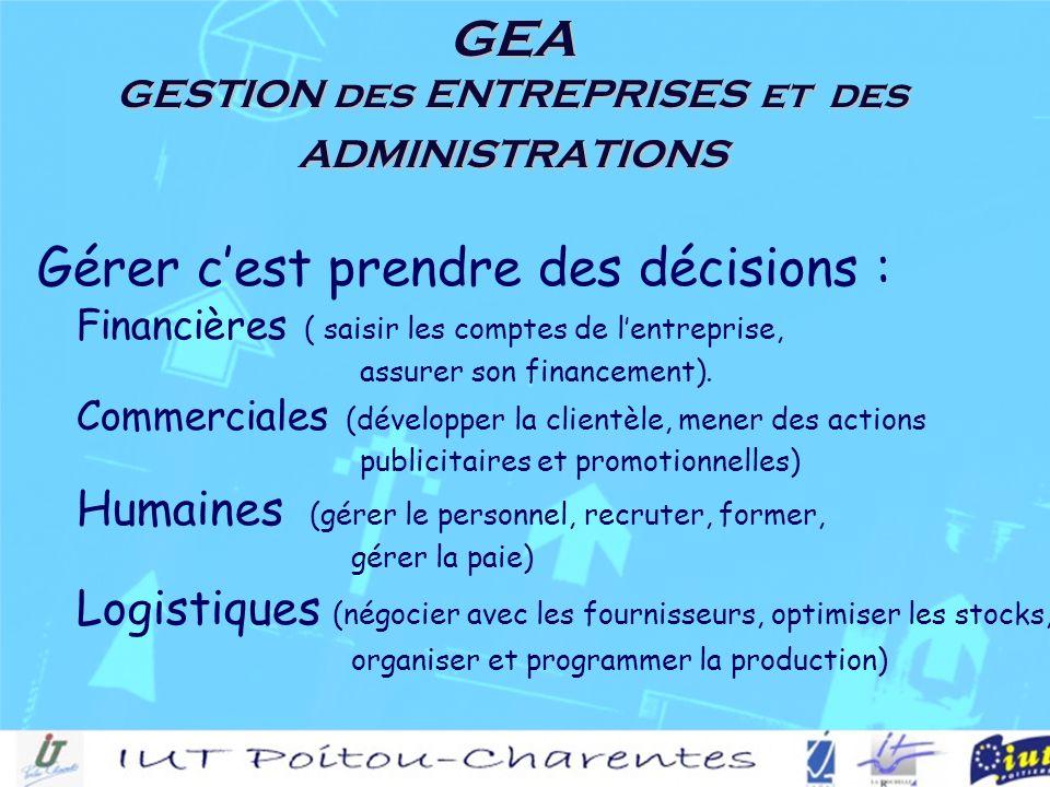 GEA GESTION des ENTREPRISES et des ADMINISTRATIONS Gérer cest prendre des décisions : Financières ( saisir les comptes de lentreprise, assurer son financement).