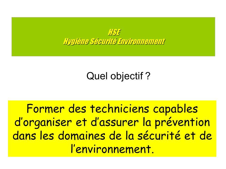 HSE Hygiène Sécurité Environnement Former des techniciens capables dorganiser et dassurer la prévention dans les domaines de la sécurité et de lenvironnement.