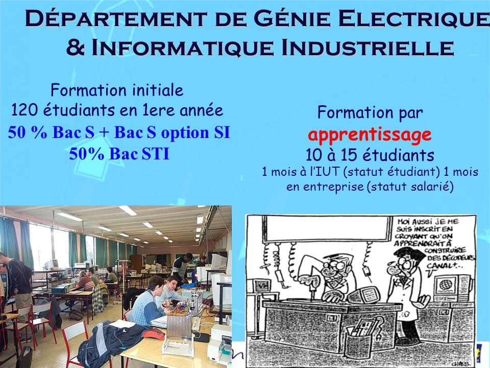 Département de Génie Electrique & Informatique Industrielle Formation initiale 120 étudiants en 1ere année 50 % Bac S + Bac S option SI 50% Bac STI Formation par apprentissage 10 à 15 étudiants 1 mois à lIUT (statut étudiant) 1 mois en entreprise (statut salarié)
