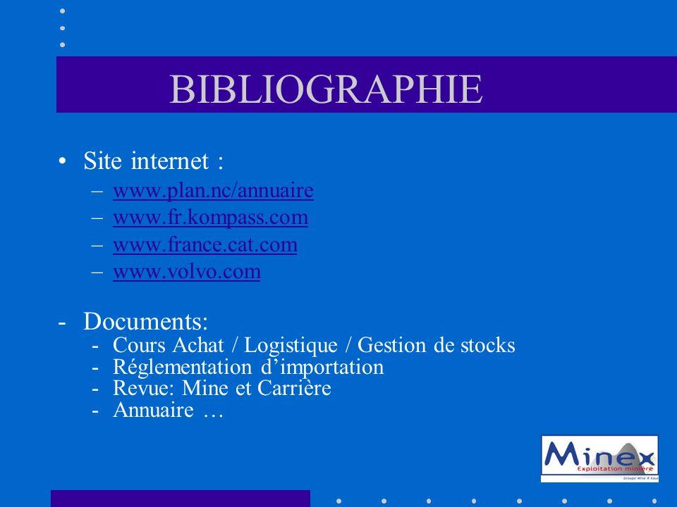 BIBLIOGRAPHIE Site internet : –www.plan.nc/annuairewww.plan.nc/annuaire –www.fr.kompass.comwww.fr.kompass.com –www.france.cat.comwww.france.cat.com –www.volvo.comwww.volvo.com -Documents: -Cours Achat / Logistique / Gestion de stocks -Réglementation dimportation -Revue: Mine et Carrière -Annuaire …
