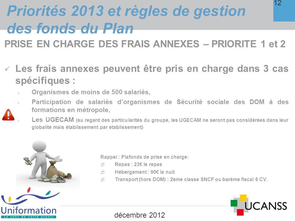 Priorités 2013 et règles de gestion des fonds du Plan 13 PRISE EN CHARGE DE LA REMUNERATION Possible, en 2013, pour les 3 cas suivants : 1.