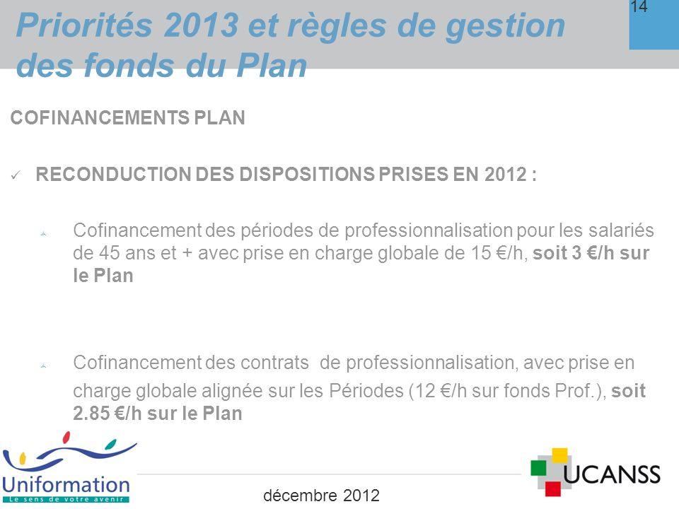 4. Priorités 2013 et règles de gestion des fonds de professionnalisation 15 décembre 2012