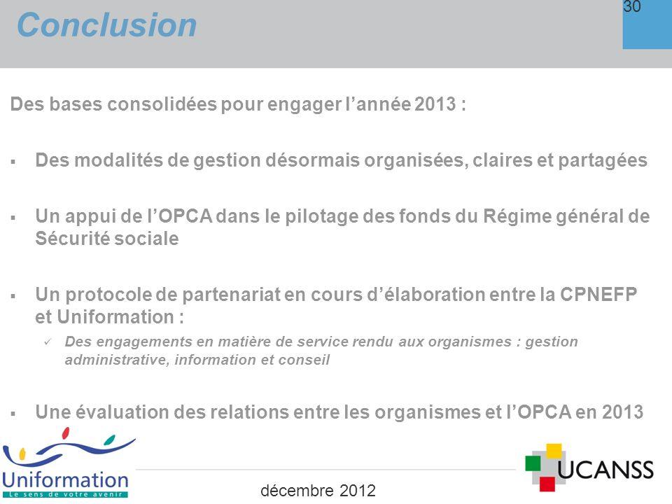 Conclusion 30 Des bases consolidées pour engager lannée 2013 : Des modalités de gestion désormais organisées, claires et partagées Un appui de lOPCA d