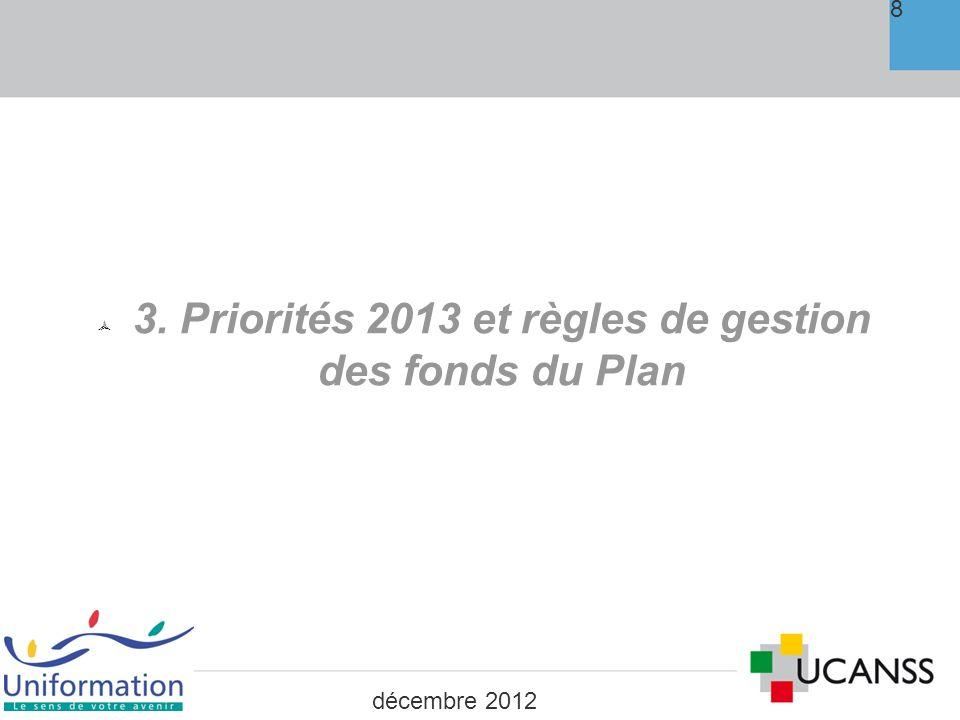 Priorités 2013 et règles de gestion des fonds du Plan PRISE EN CHARGE DES COÛTS PEDAGOGIQUES : Reconduction sur 2013 des taux à appliquer selon le niveau de priorité Priorité de niveau 1 : 80% du coût pédagogique Priorité de niveau 2 : 60% du coût pédagogique Priorité de niveau 3 : 50% du coût pédagogique 9 décembre 2012