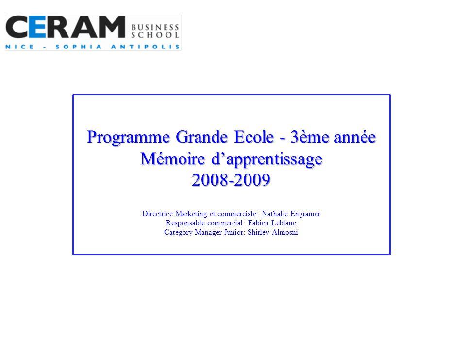 Programme Grande Ecole - 3ème année Mémoire dapprentissage 2008-2009 Programme Grande Ecole - 3ème année Mémoire dapprentissage 2008-2009 Directrice M
