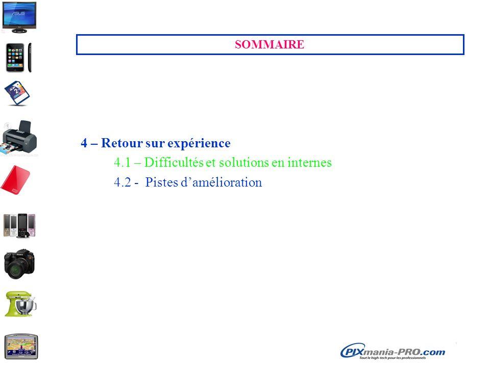 SOMMAIRE 4 – Retour sur expérience 4.1 – Difficultés et solutions en internes 4.2 - Pistes damélioration