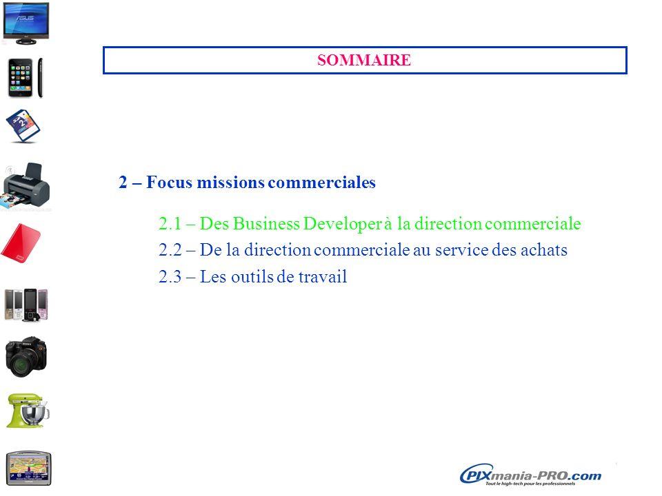 SOMMAIRE 2 – Focus missions commerciales 2.1 – Des Business Developer à la direction commerciale 2.2 – De la direction commerciale au service des acha