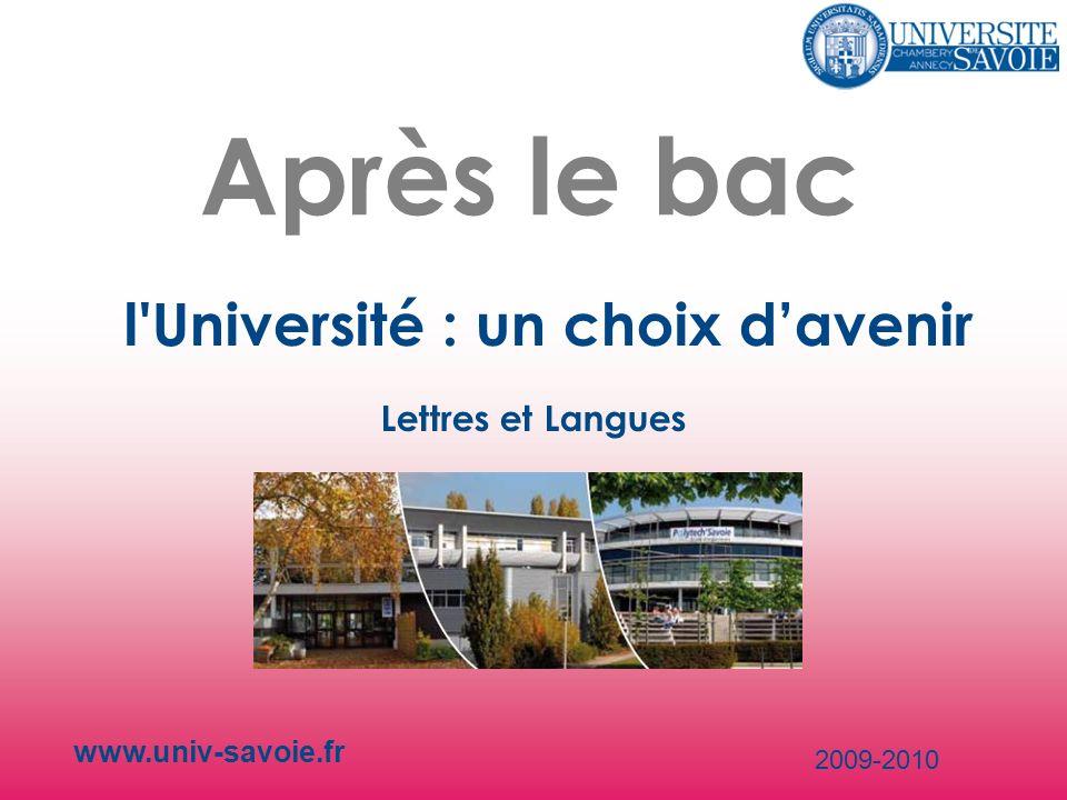 Après le bac l'Université : un choix davenir www.univ-savoie.fr 2009-2010 Lettres et Langues