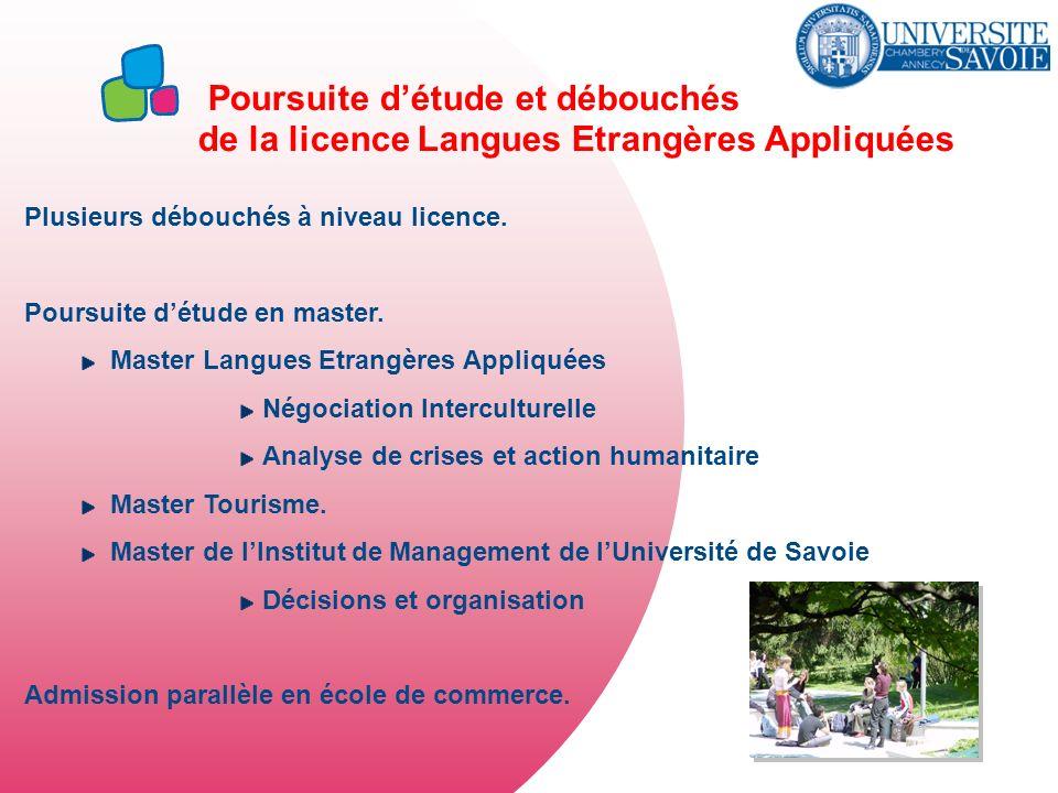 Poursuite détude et débouchés de la licence Langues Etrangères Appliquées Plusieurs débouchés à niveau licence. Poursuite détude en master. Master Lan