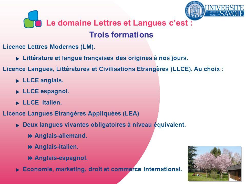 Le domaine Lettres et Langues cest : Trois formations Licence Lettres Modernes (LM). Littérature et langue françaises des origines à nos jours. Licenc