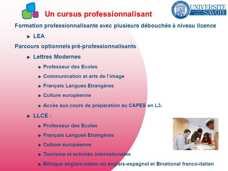 Un cursus professionnalisant Formation professionnalisante avec plusieurs débouchés à niveau licence LEA Parcours optionnels pré-professionnalisants L