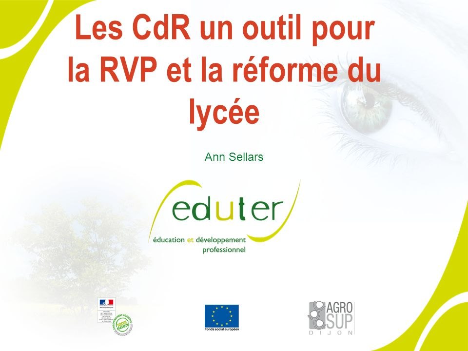 Les CdR un outil pour la RVP et la réforme du lycée Ann Sellars