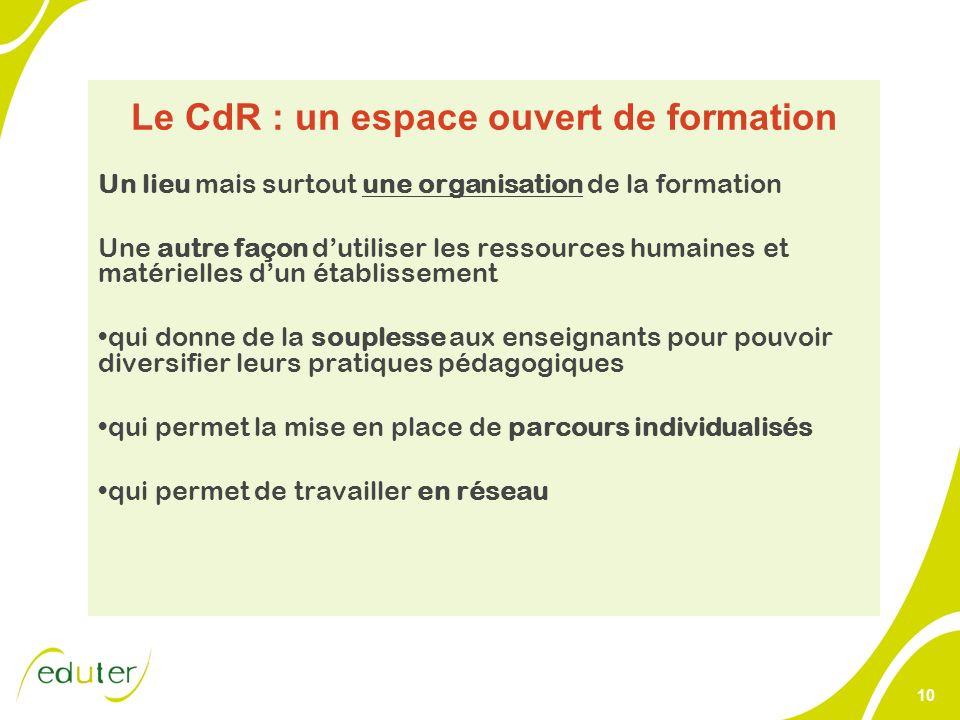 10 Le CdR : un espace ouvert de formation Un lieu mais surtout une organisation de la formation Une autre façon dutiliser les ressources humaines et m