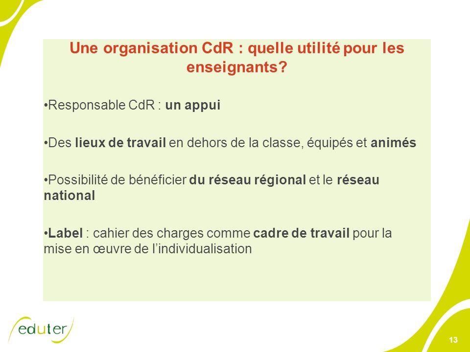 13 Une organisation CdR : quelle utilité pour les enseignants? Responsable CdR : un appui Des lieux de travail en dehors de la classe, équipés et anim