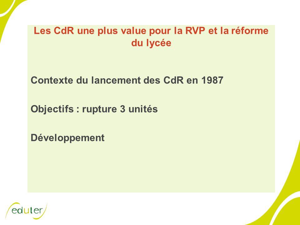 Les CdR une plus value pour la RVP et la réforme du lycée Contexte du lancement des CdR en 1987 Objectifs : rupture 3 unités Développement