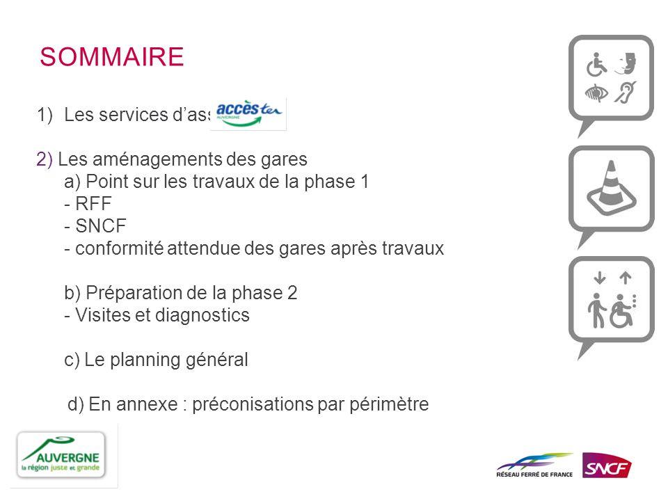 1)Les services dassistance : 2) Les aménagements des gares a) Point sur les travaux de la phase 1 - RFF - SNCF - conformité attendue des gares après t