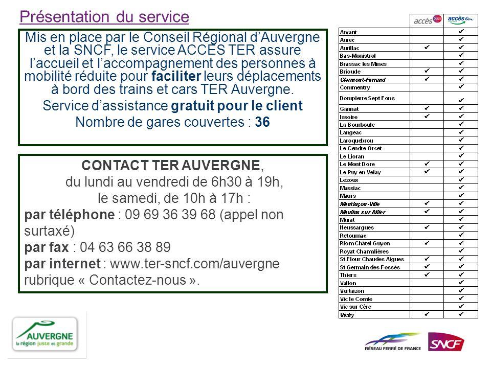 Sur lensemble des gares de la Région Auvergne, le volume de prestations dassistance réservées via ACCES PLUS et ACCES TER est de 6263 Sur le seul périmètre du service ACCES TER, le nombre de prises en charge est de 2118 Le périmètre ACCES TER est le suivant : - le client effectue un voyage sur le territoire auvergnat - le client part ou arrive sur une gare « TER » non couverte par Accès Plus.