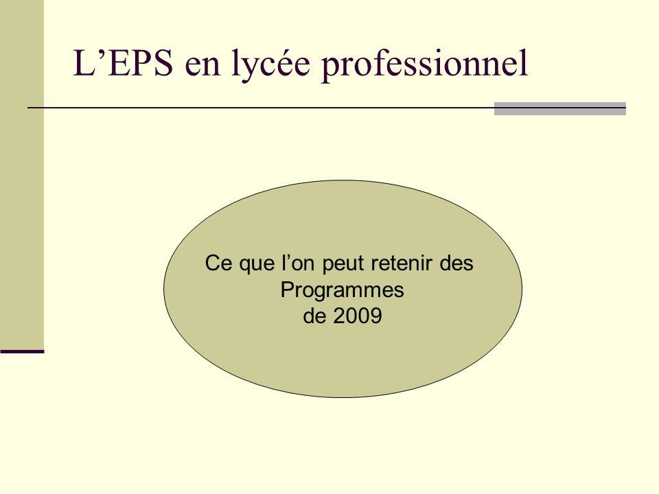 LEPS en lycée professionnel Ce que lon peut retenir des Programmes de 2009