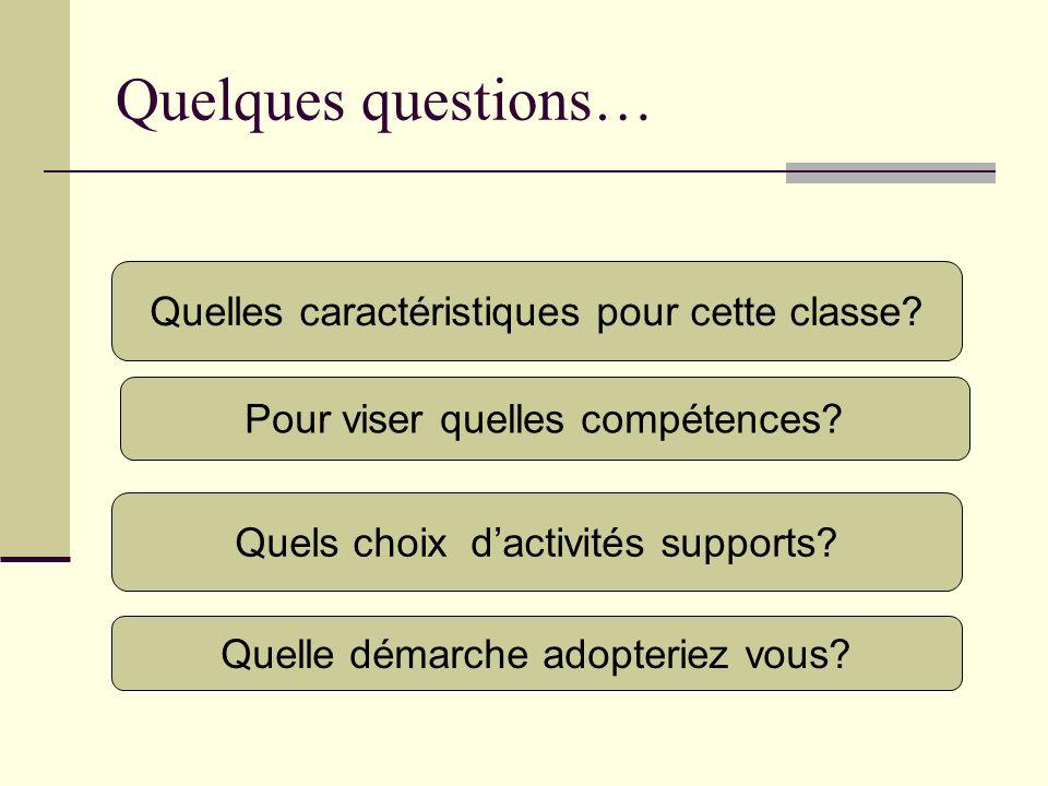Quelques questions… Pour viser quelles compétences? Quelle démarche adopteriez vous? Quels choix dactivités supports? Quelles caractéristiques pour ce