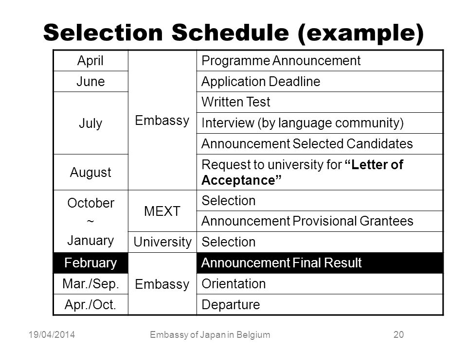 19/04/2014Embassy of Japan in Belgium20 Selection Schedule (example) April Embassy Programme Announcement JuneApplication Deadline July Written Test I
