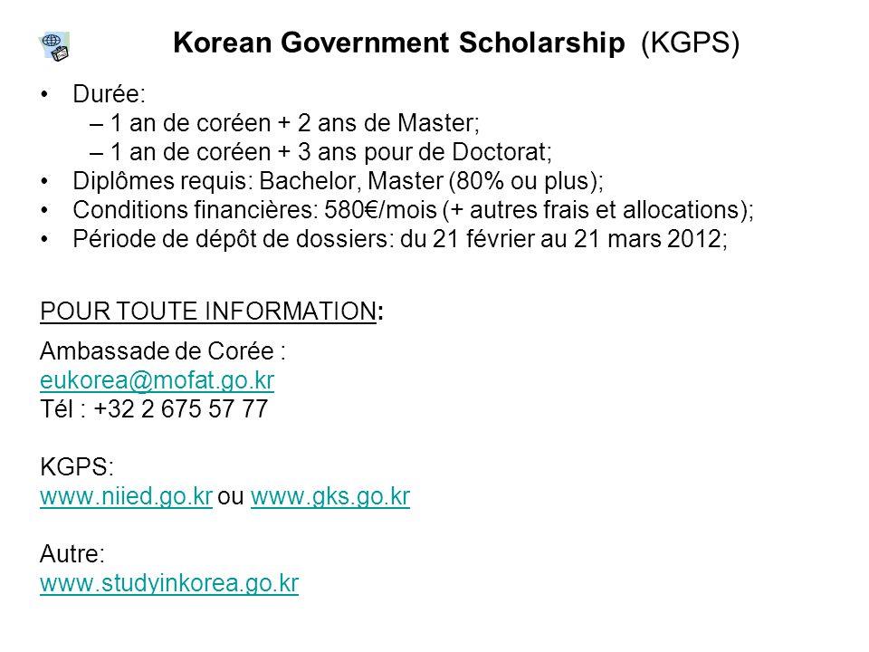 Durée: – 1 an de coréen + 2 ans de Master; – 1 an de coréen + 3 ans pour de Doctorat; Diplômes requis: Bachelor, Master (80% ou plus); Conditions fina