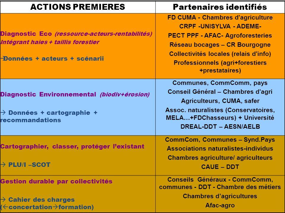 ACTIONS PREMIERESPartenaires identifiés Diagnostic Eco (ressource-acteurs-rentabilités) Intégrant haies + taillis forestier Données + acteurs + scénarii FD CUMA - Chambres d agriculture CRPF -UNISYLVA - ADEME- PECT PPF - AFAC- Agroforesteries Réseau bocages – CR Bourgogne Collectivités locales (relais d info) Professionnels (agri+forestiers +prestataires) Diagnostic Environnemental (biodiv+érosion) Données + cartographie + recommandations Communes, CommComm, pays Conseil Général – Chambres d agri Agriculteurs, CUMA, safer Assoc.