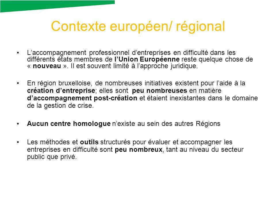 Contexte européen/ régional Laccompagnement professionnel dentreprises en difficulté dans les différents états membres de lUnion Européenne reste quelque chose de « nouveau ».