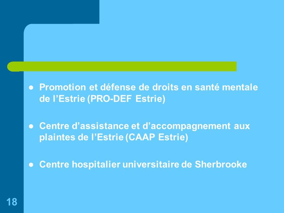 18 Promotion et défense de droits en santé mentale de lEstrie (PRO-DEF Estrie) Centre dassistance et daccompagnement aux plaintes de lEstrie (CAAP Estrie) Centre hospitalier universitaire de Sherbrooke