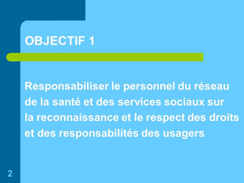 2 OBJECTIF 1 Responsabiliser le personnel du réseau de la santé et des services sociaux sur la reconnaissance et le respect des droits et des responsabilités des usagers