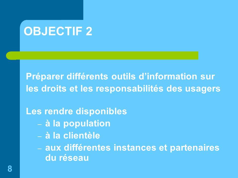 8 OBJECTIF 2 Préparer différents outils dinformation sur les droits et les responsabilités des usagers Les rendre disponibles – à la population – à la clientèle – aux différentes instances et partenaires du réseau