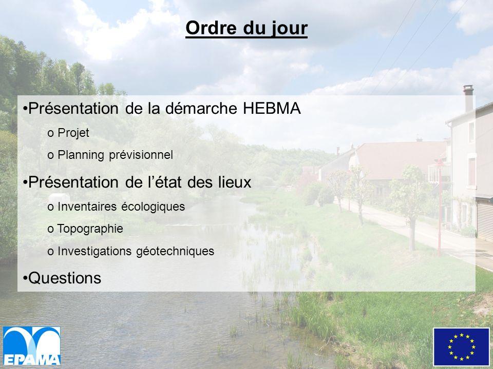 Ordre du jour Présentation de la démarche HEBMA o Projet o Planning prévisionnel Présentation de létat des lieux o Inventaires écologiques o Topograph