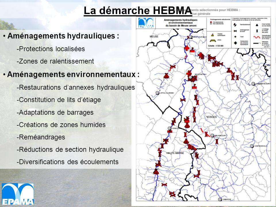Aménagements hydrauliques : -Protections localisées -Zones de ralentissement Aménagements environnementaux : -Restaurations dannexes hydrauliques -Con