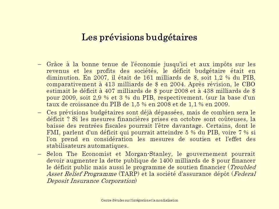 Centre détudes sur lintégration et la mondialisation Les prévisions budgétaires –Grâce à la bonne tenue de léconomie jusquici et aux impôts sur les revenus et les profits des sociétés, le déficit budgétaire était en diminution.