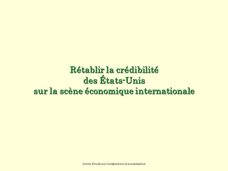 Centre détudes sur lintégration et la mondialisation Rétablir la crédibilité des États-Unis sur la scène économique internationale