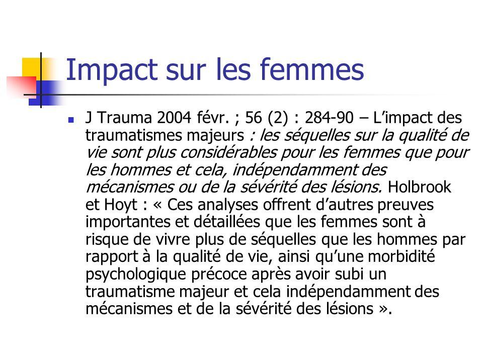Impact sur les femmes J Trauma 2004 févr.