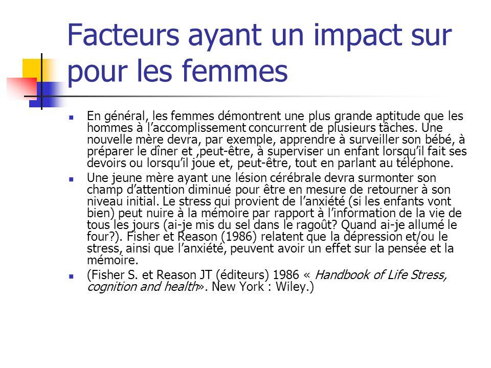 Facteurs ayant un impact sur pour les femmes En général, les femmes démontrent une plus grande aptitude que les hommes à laccomplissement concurrent de plusieurs tâches.