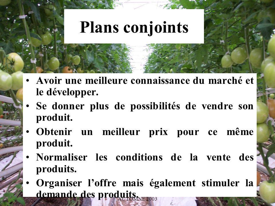 SAISIR L OPPORTUNITÉ BIO AUTOMNE 2003 Plans conjoints Avoir une meilleure connaissance du marché et le développer.
