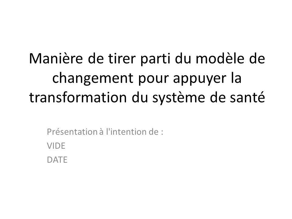 Manière de tirer parti du modèle de changement pour appuyer la transformation du système de santé Présentation à l'intention de : VIDE DATE