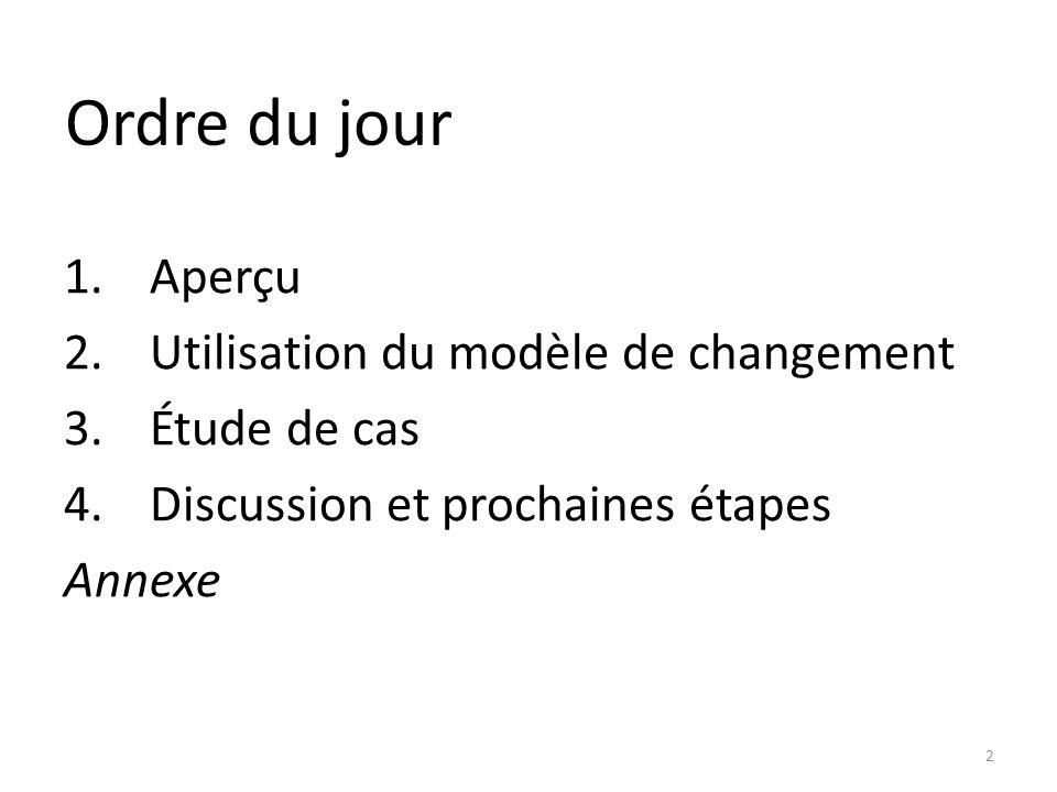 Ordre du jour 1.Aperçu 2.Utilisation du modèle de changement 3.Étude de cas 4.Discussion et prochaines étapes Annexe 2