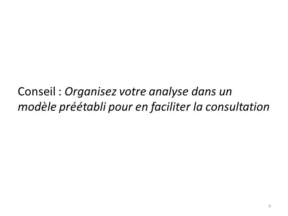 Conseil : Organisez votre analyse dans un modèle préétabli pour en faciliter la consultation 9